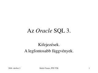 Az Oracle SQL 3.