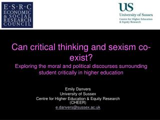 Emily Danvers University of Sussex Centre for Higher Education & Equity Research (CHEER)