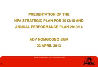 PRESENTATION OF THE  NPA STRATEGIC PLAN FOR 2013/18 AND  ANNUAL PERFORMANCE PLAN 2013/14
