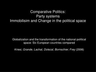 Comparative Politics: Party systems Immobilisim and Change in the political space