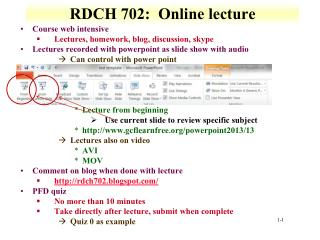 RDCH 702: Online lecture