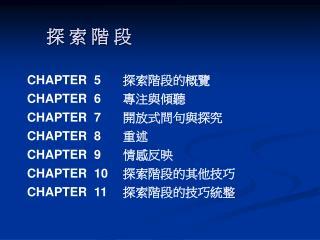 探 索 階 段 CHAPTER  5 探索階段的概覽 CHAPTER  6 專注與傾聽 CHAPTER  7 開放式問句與探究 CHAPTER  8 重述
