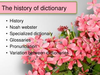 The history of dictionary