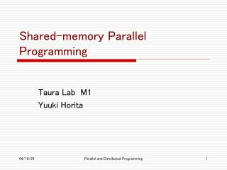 Shared-memory Parallel Programming