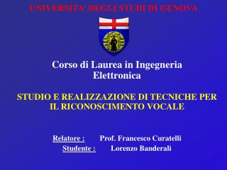 UNIVERSITA' DEGLI STUDI DI GENOVA