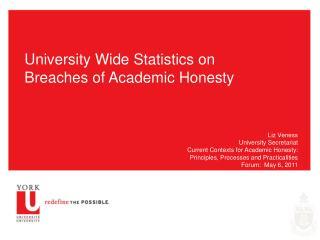 University Wide Statistics on Breaches of Academic Honesty