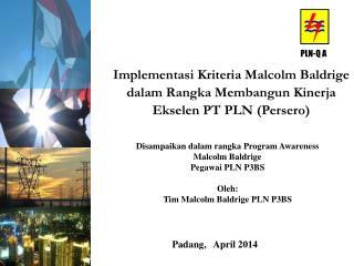 Disampaikan dalam rangka Program Awareness Malcolm Baldrige Pegawai PLN P3BS Oleh:
