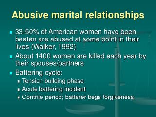 Abusive marital relationships