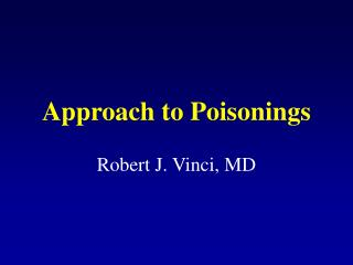 Approach to Poisonings