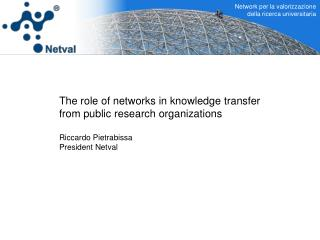 The role of networks in knowledge transfer from public research organizations Riccardo Pietrabissa