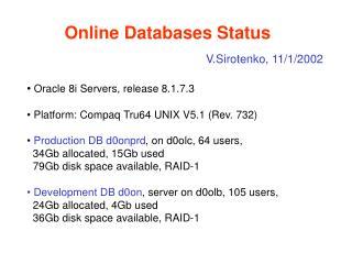 Online Databases Status