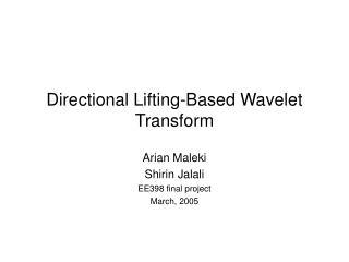 Directional Lifting-Based Wavelet Transform