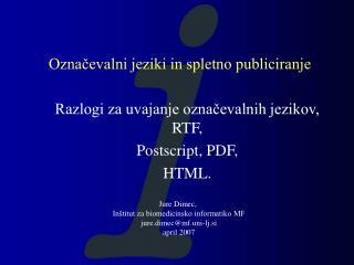 Označevalni jeziki in spletno publiciranje