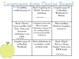Language Arts Choice Board