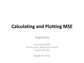 Calculating and Plotting MSE