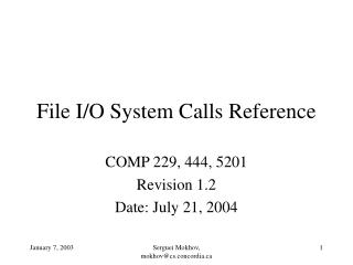 File I/O System Calls Reference