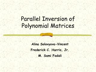 Parallel Inversion of Polynomial Matrices