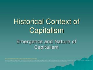 Historical Context of Capitalism