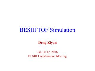 BESIII TOF Simulation