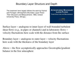 Boundary Layer Structure and Depth
