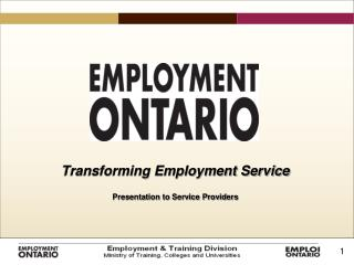 Transforming Employment Service Presentation to Service Providers