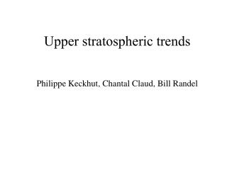 Upper stratospheric trends
