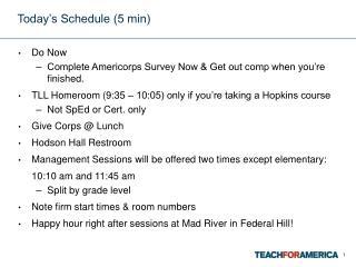 Today's Schedule (5 min)