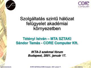 Szolgáltatás szintű hálózat felügyelet akadémiai környezetben Tétényi István – MTA SZTAKI