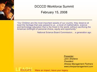 DCCCD Workforce Summit February 15, 2008