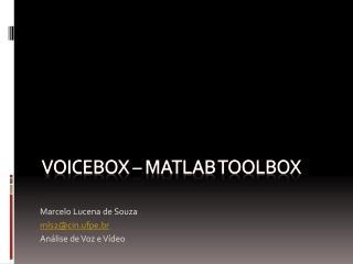 Voicebox – Matlab toolbox