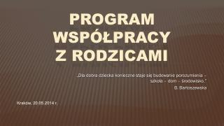 Program współpracy z Rodzicami