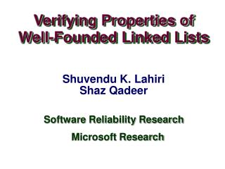 Verifying Properties of  Well-Founded Linked Lists