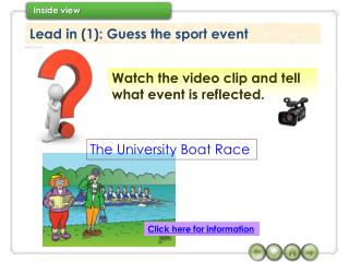 Lead in (1): Guess the sport event
