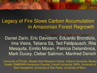 Legacy of Fire Slows Carbon Accumulation in Amazonian Forest Regrowth