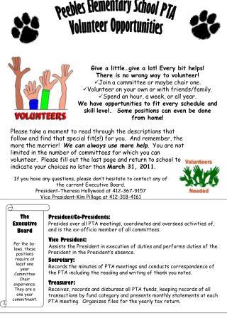 Peebles Elementary School PTA Volunteer Opportunities