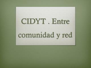 CIDYT . Entre comunidad y red