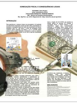 SONEGAÇÃO FISCAL E CONSEQUÊNCIAS LEGAIS