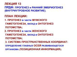 ЛЕКЦИЯ 13 ПРДФ : ПРОГЕНЕЗ и РАННИЙ ЭМБРИОГЕНЕЗ (ВНУТРИУТРОБНОЕ РАЗВИТИЕ).