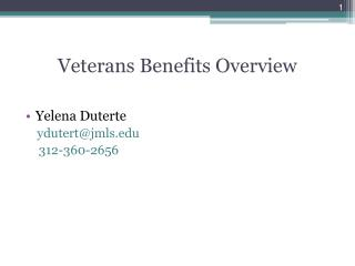 Veterans Benefits Overview