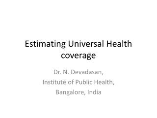 Estimating Universal Health coverage