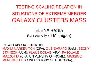 TESTING SCALING RELATION IN SITUATIONS OF EXTREME MERGER GALAXY CLUSTERS MASS