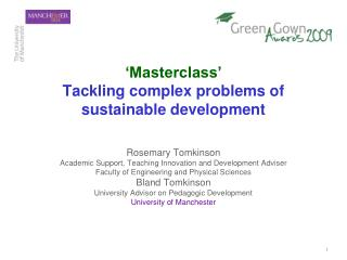 'Masterclass' Tackling complex problems of sustainable development