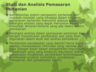 Studi dan Analisis Pemasaran Pertanian