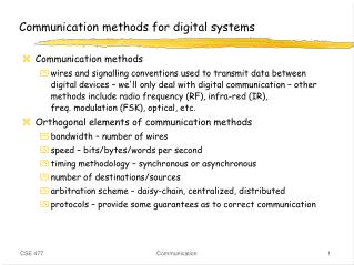 Communication methods for digital systems