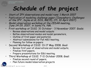 Schedule of the project