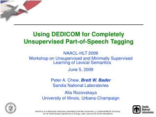 Using DEDICOM for Completely Unsupervised Part-of-Speech Tagging