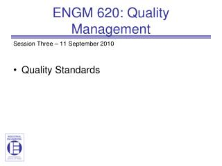 ENGM 620: Quality Management