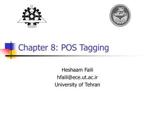 Chapter 8: POS Tagging