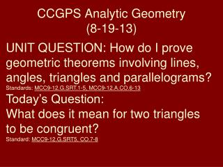 CCGPS Analytic Geometry (8-19-13)