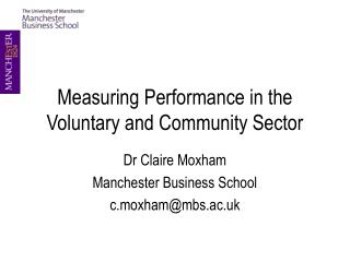 Measuring Performance in the Voluntary and Community Sector